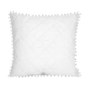 Bílý povlak na polštář Slowdeco Pompoon, 45 x 45 cm