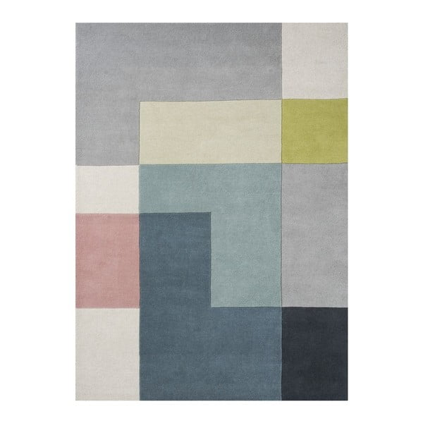 Vlněný koberec Tetris Lime, 200x300 cm