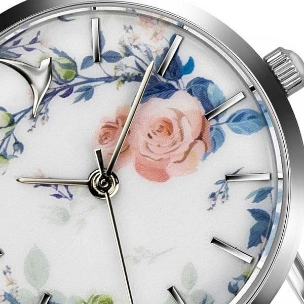 Dámské hodinky s bílým páskem z pravé kůže v bílé barvě Emily Westwood Rosa