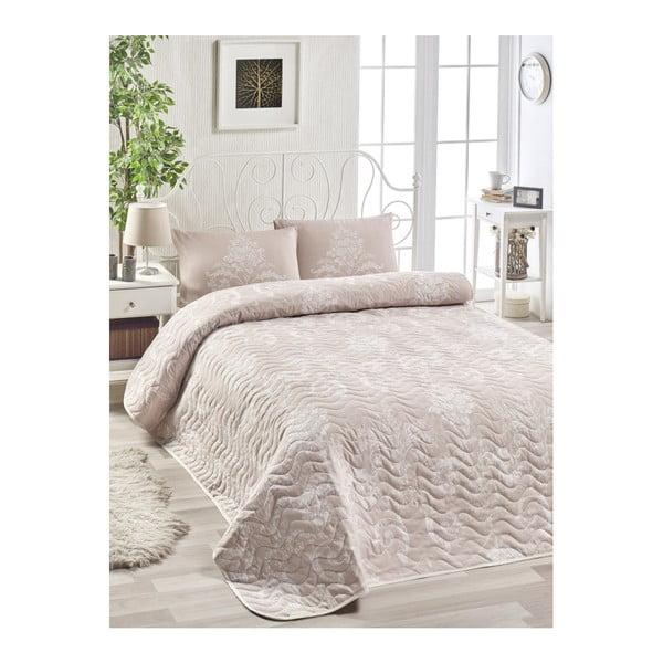 Zestaw narzuty na łóżko i 2 poszewek na poduszkę z domieszką bawełny EnLora Home Kralice Pink, 200x220 cm