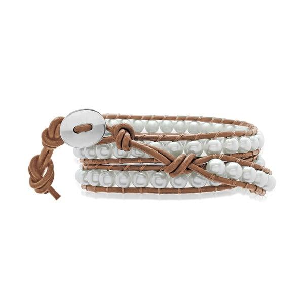 Hnědý tříuřadý náramek z pravé kůže s perlami Lucie & Jade