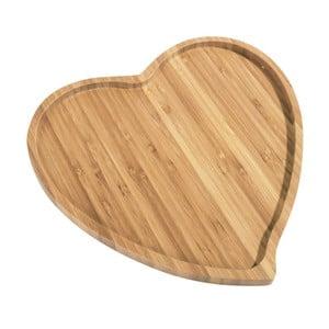 Platou servire din bambus Kosova Heart, 27 x 25 cm