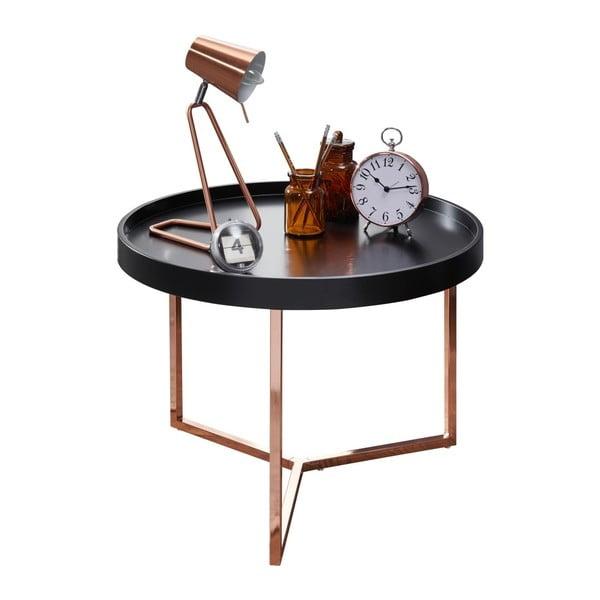 Černý příruční stolek s nohami v měděné barvě Skyport Wohnling Eva, ⌀ 58,5 cm