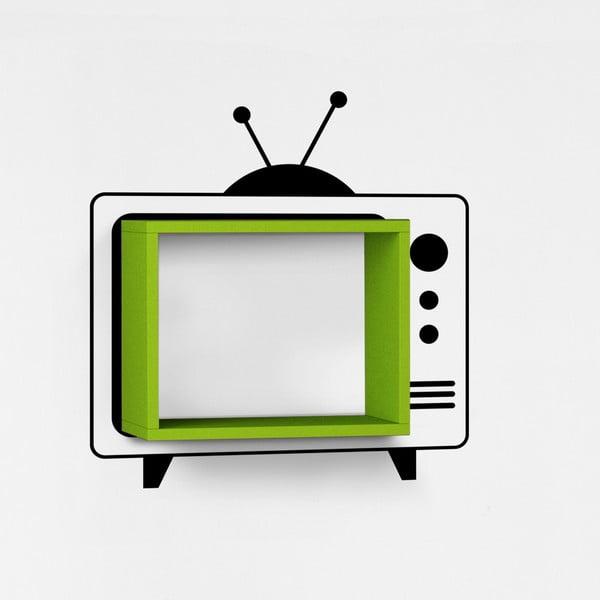Nástěnná police se samolepkou TV, zelená
