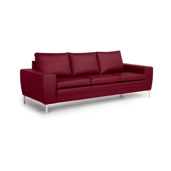 Červená kožená třímístná pohovka Softnord Twigo