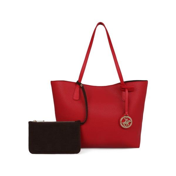 Červená kabelka s hnědým vnitřkem Beverly Hills Polo Club Celeste