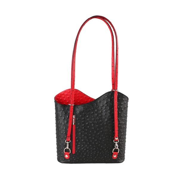 Černo-červená kožená kabelka Chicca Borse Parona