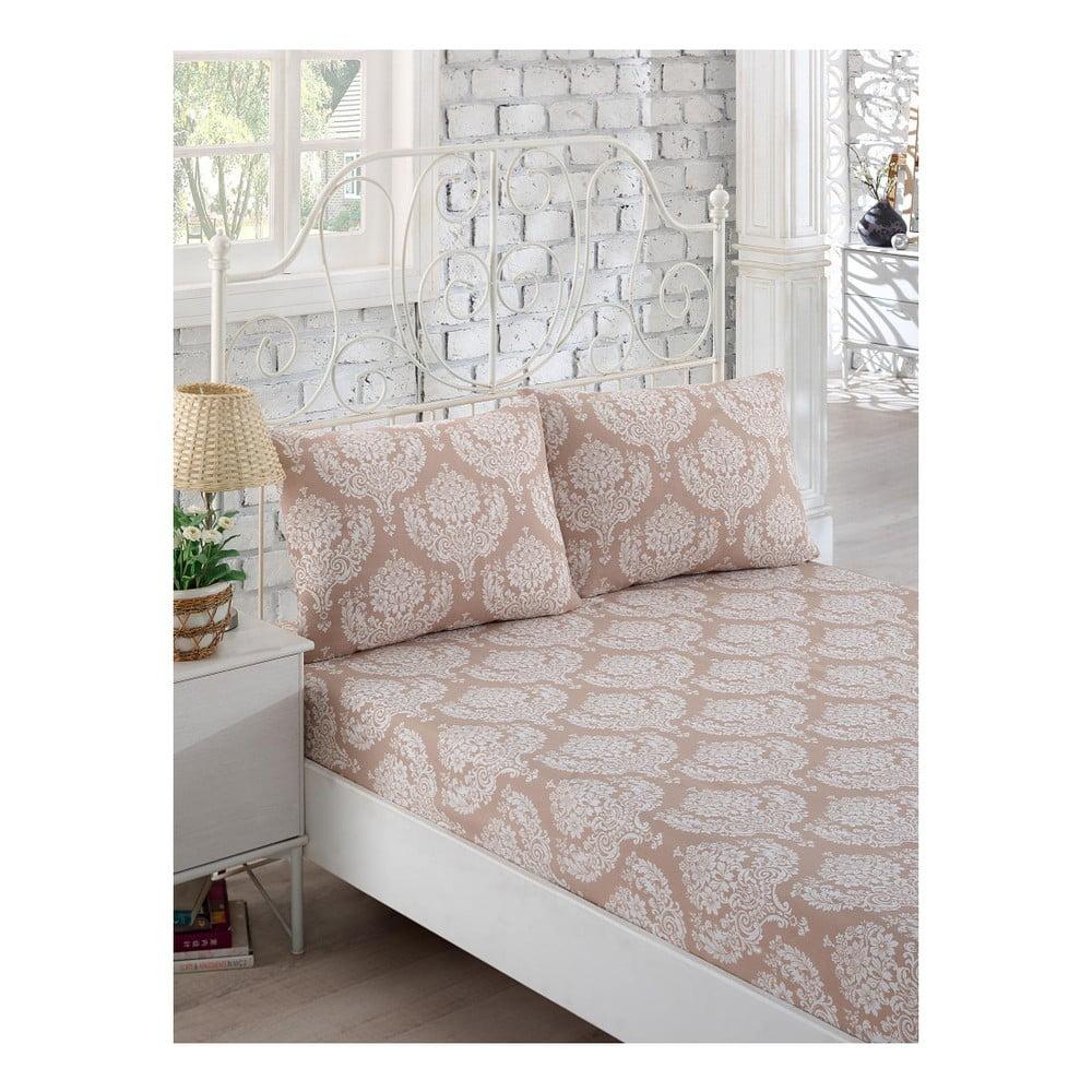 Set bílého elastického prostěradla a 2 povlaků na polštáře na jednolůžko Lillian, 160 x 200 cm