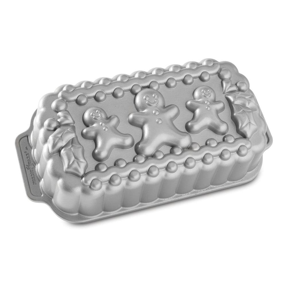 Forma na chlebíček ve stříbrné barvě Nordic Ware Gingerbread Family, 1,4l