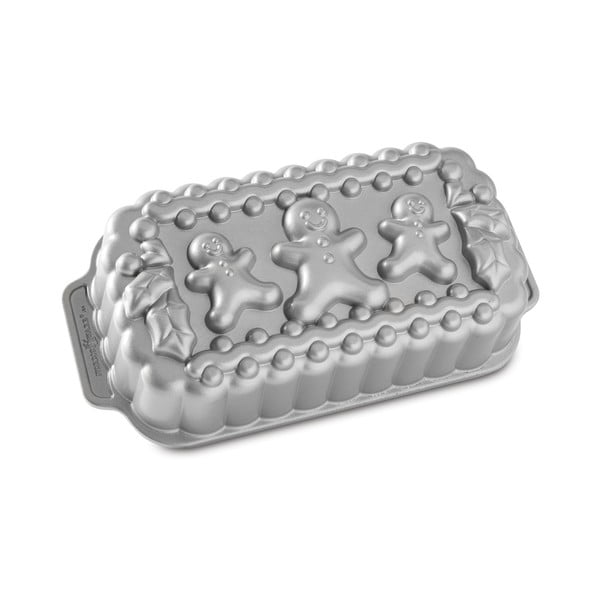 Podłużna forma na ciasto w srebrnym kolorze Nordic Ware Gingerbread Family, 1,4 l