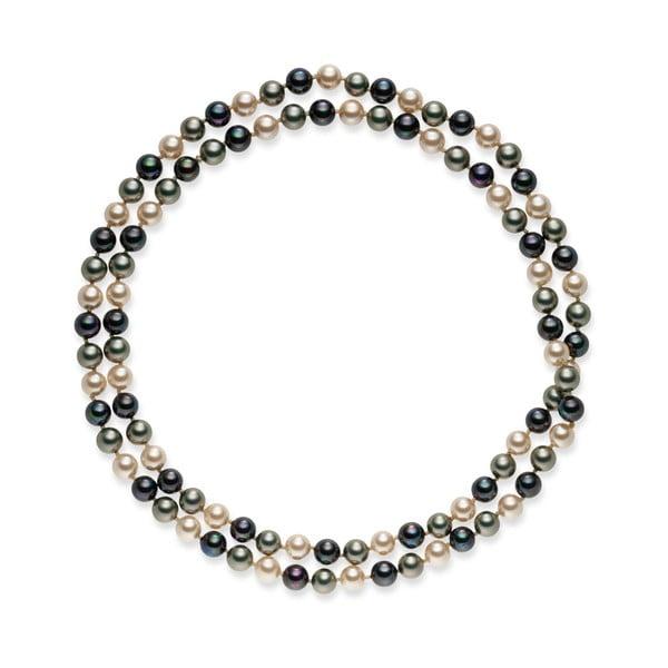 Šedobílý perlový náhrdelník Pearls Of London Mystic, délka 90cm