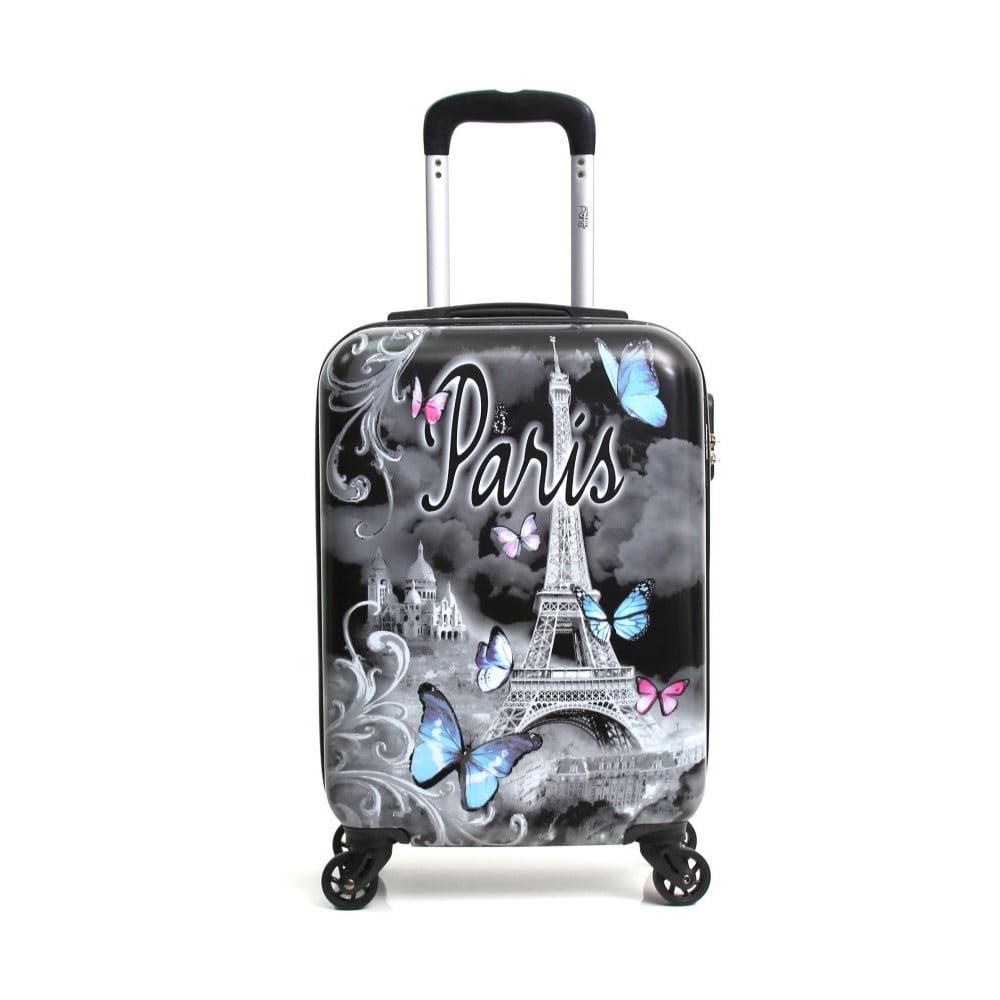 Černý cestovní kufr na kolečkách Hello Paris, 37 l