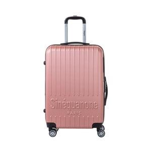 Světle růžový cestovní kufr na kolečkách s kódovým zámkem SINEQUANONE Chandler, 71 l