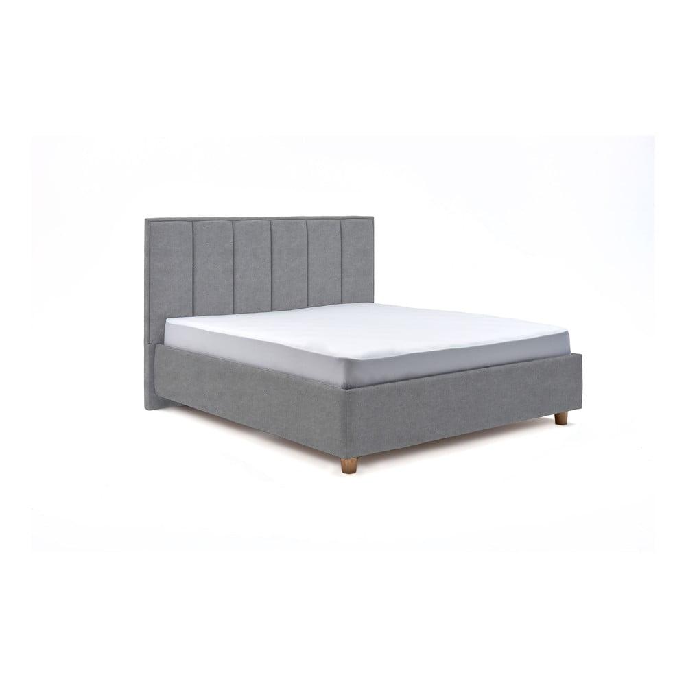 Modrošedá dvoulůžková postel s roštem a úložným prostorem ProSpánek Wega, 160 x 200 cm