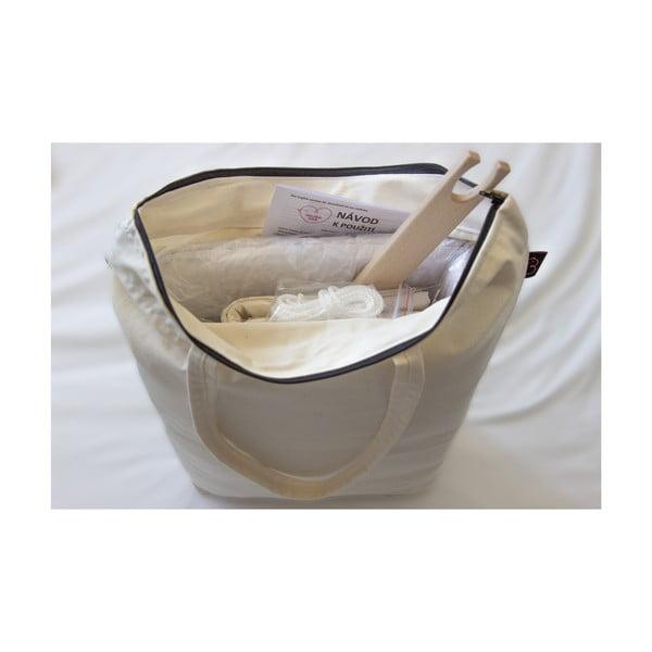 Krémová kolébka z BIO bavlny se zavěšením do dveří Hojdavak