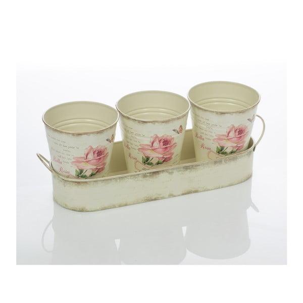 Sada 3 květináčů na tácku Rose Pots