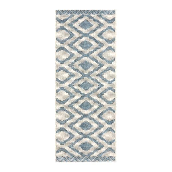Modro-krémový venkovní koberec Bougari Isle, 70x200cm