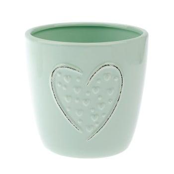 Ghiveci din ceramică Dakls Heart, înălțime 12 cm, verde de la Dakls