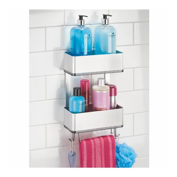 Nástěnný držák do sprchy s dvěmi patry a závěsnými háčky Interdesign