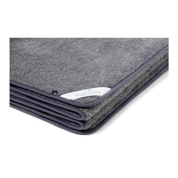 Tmavě šedá deka z merino vlny Royal Dream,90x200cm