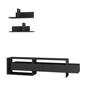 Set masă TV și 2 rafturi de perete Homitis Gara, gri antracit de la Homitis