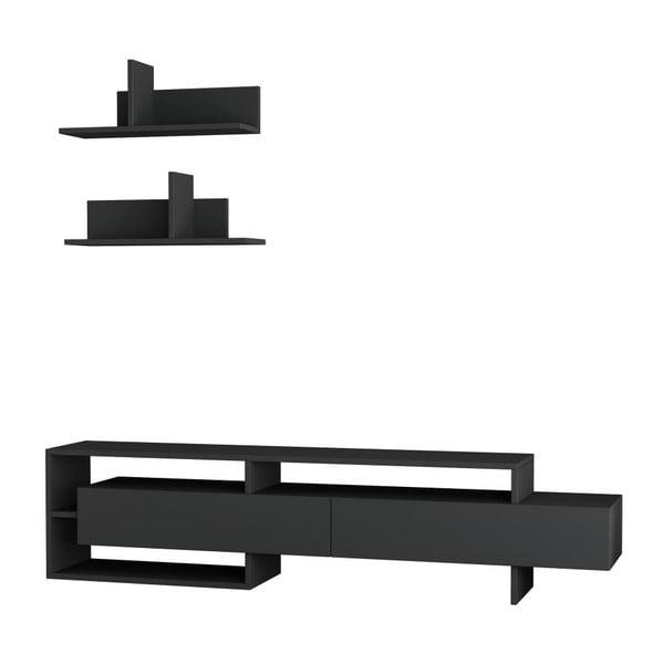 Set masă TV și 2 rafturi de perete Homitis Gara, gri antracit