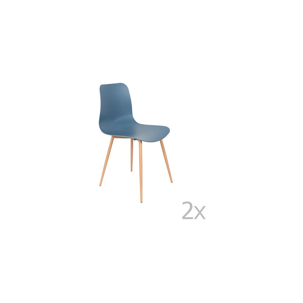 Sada 2 modrých židlí White Label Leon