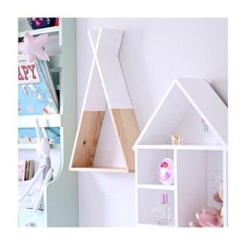 Raft de perete din lemn North Carolina Scandinavian Home Decors Teepee, înălțime 45 cm, alb imagine