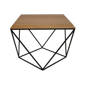Černý konferenční stolek s deskou z dubového dřeva take me HOME Tulip, 53x53cm