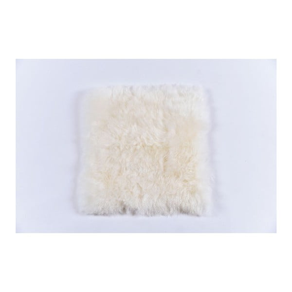 Bílý kožešinový podsedák s krátkým chlupem, 37x37cm