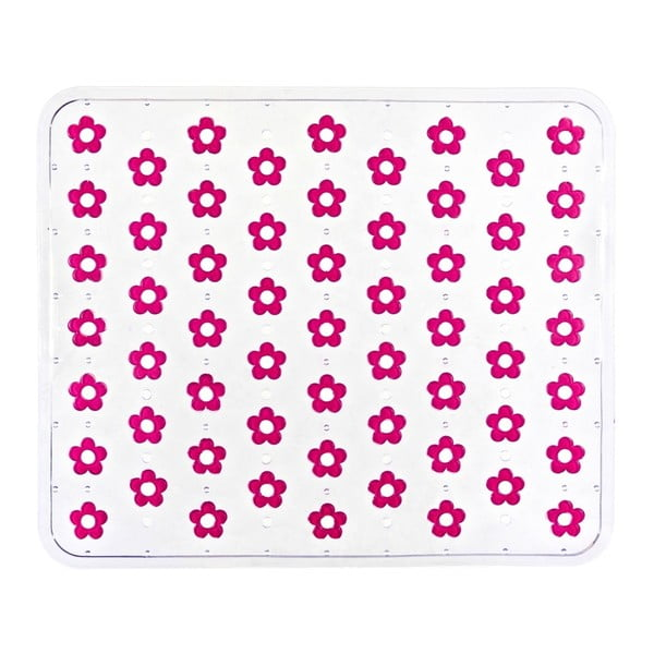 Suport pentru chiuvetă Wenko Sink Mat Fleurelle, 32 x 26,5 cm, roz
