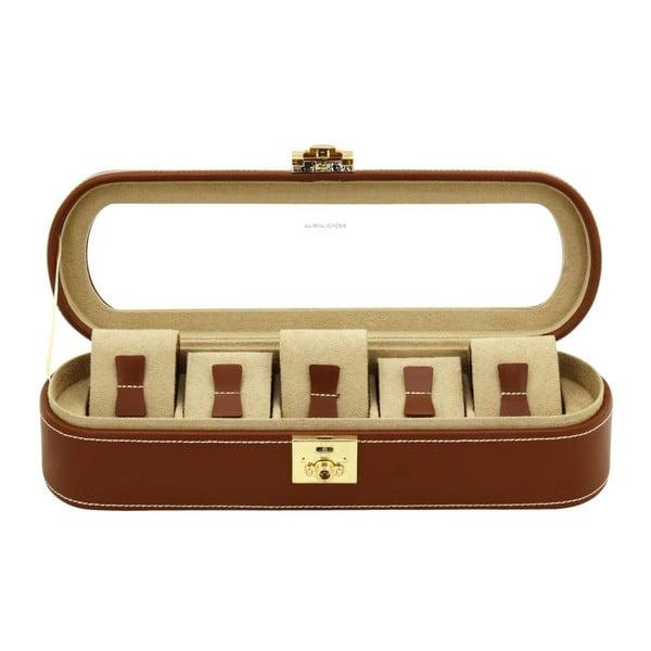 Hnědý box na patero hodinek Friedrich Lederwaren Cordoba
