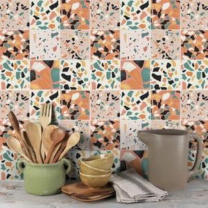 Sada 9 nástěnných samolepek Ambiance Cement Tiles Terrazzo Zunilda, 10 x 10 cm