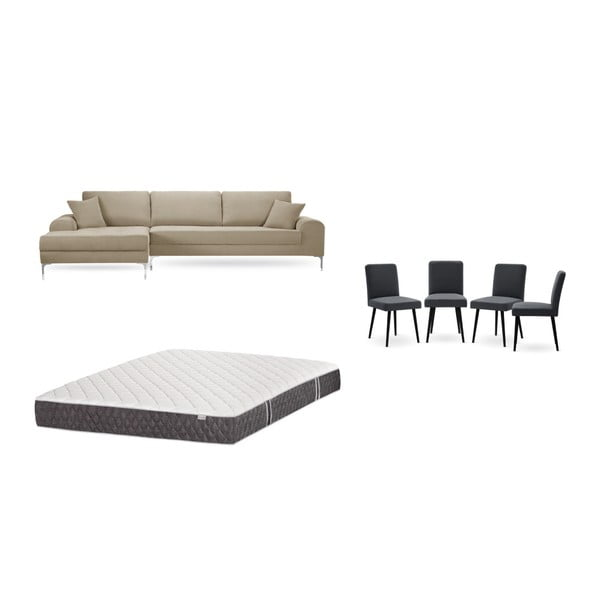 Set canapea gri-bej cu șezut pe partea stângă, 4 scaune gri antracit, o saltea 160 x 200 cm Home Essentials