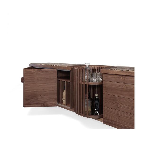 Komoda z ořechového dřeva s otočným barem a mramorovou deskou Wewood - Portuguese Joinery Carousel