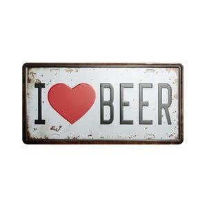 Cedule I Love Beer, 15x30 cm