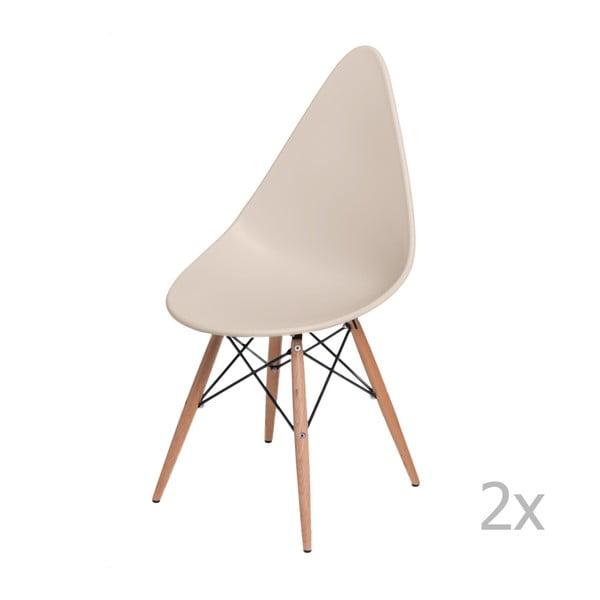 Sada 2 béžových židlí D2 Rush DWS
