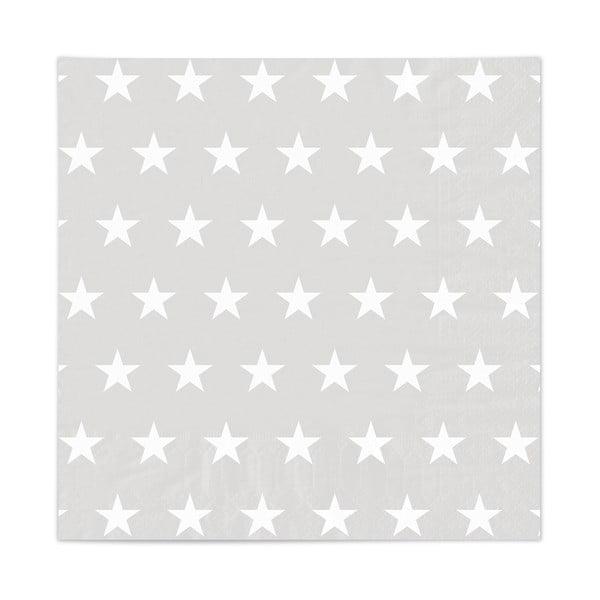 Sada 20 ubrousků Stars Grey