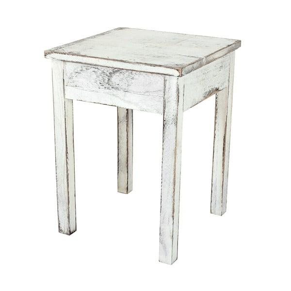 Dřevěná sada bílé závěsné poličky se dvěma stolky Mendler Shabby