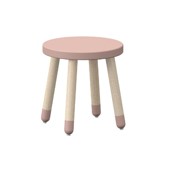 Růžová dětská stolička s nohami z jasanového dřeva Flexa Play, ø 30 cm