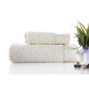 Set dvou ručníků Hanzade Ecru, 70x140 a 50x90 cm
