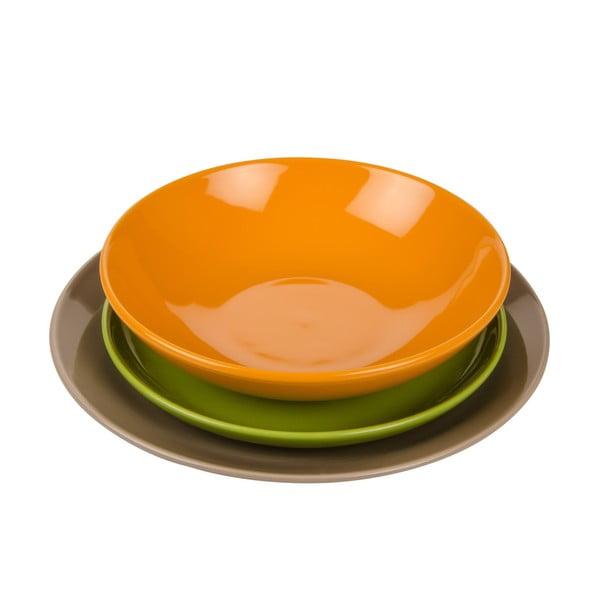 18dílná sada talířů Kaleidos, oranžovo-zeleno-šedá