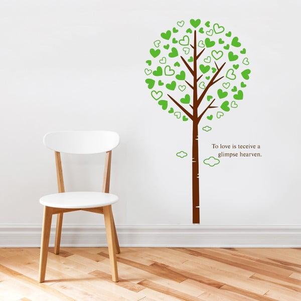 Samolepka na stěnu Strom a srdíčkové listy, 60x90 cm