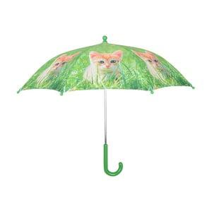 Zelený deštník s potiskem kočky Esschert Design Animals