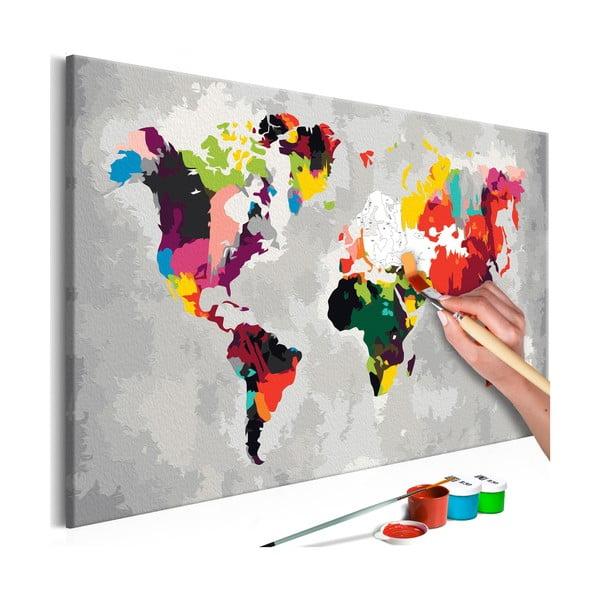 DIY set na tvorbu vlastného obrazu na plátne Artgeist Bright World Map, 60 × 40 cm