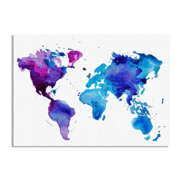 Obraz na plátně Really Nice Things Watercolor Blue Worldmap, 50 x 70 cm