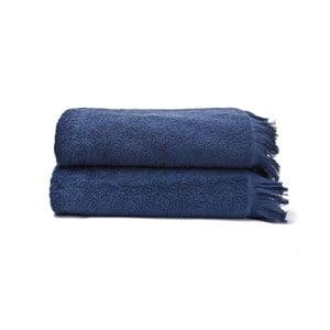 Set 2 prosoape de baie din 100% bumbac Bonami, 70 x 140 cm, bleumarin