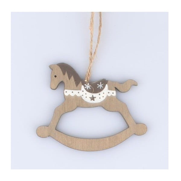 Sada 5 závěsných dřevěných dekorací ve tvaru houpacího koně Dakls