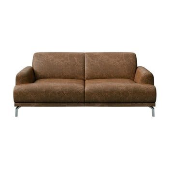 Canapea din piele cu 2 locuri MESONICA Puzo maro