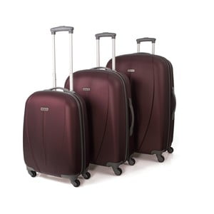 Sada 3 vínových cestovních kufrů Tempo